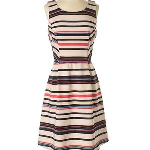 Gibson & Latimer Blush Pink Striped Scuba Dress